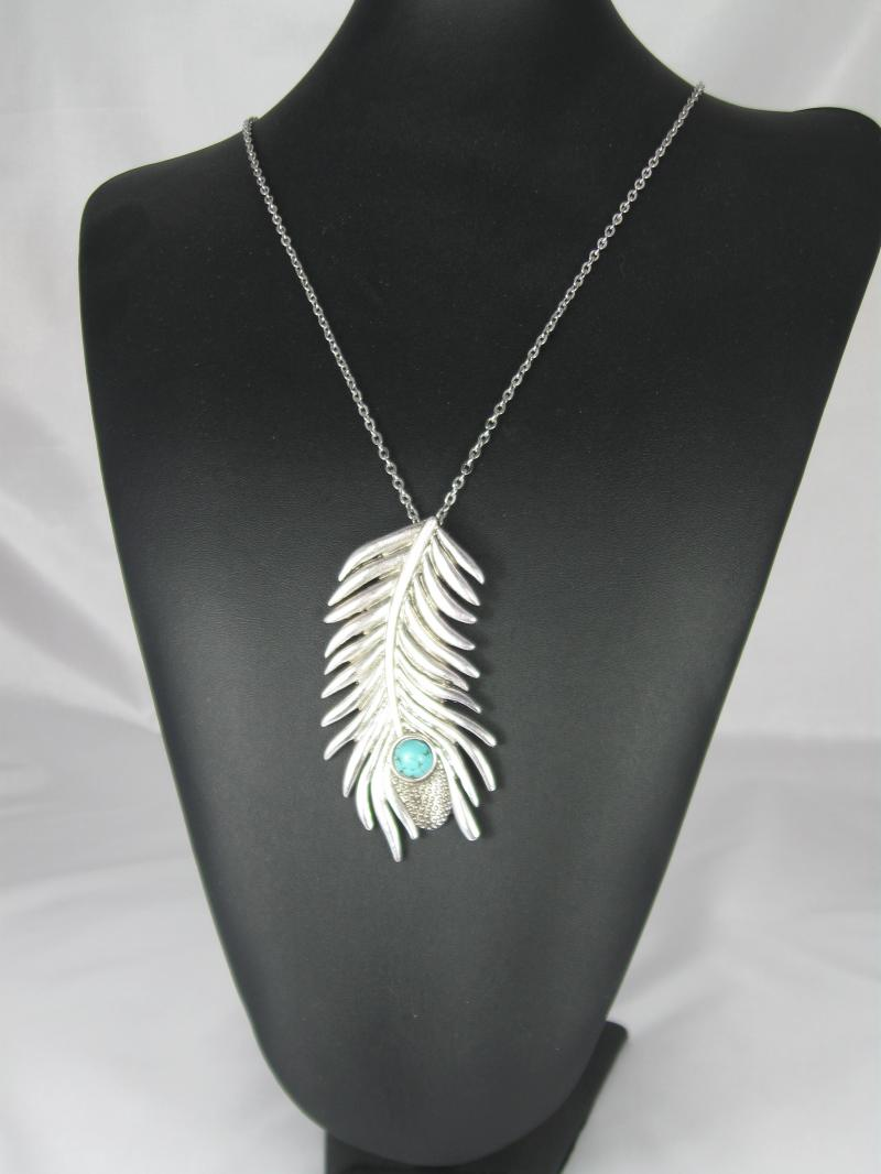 Turquoise and Silver Peacock Design Feather Necklace