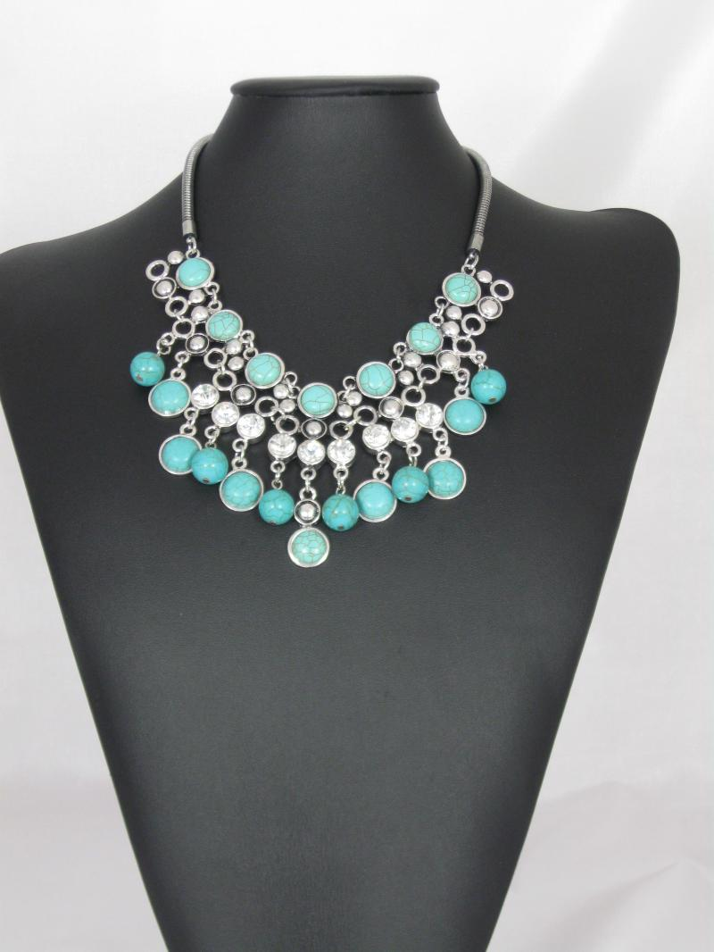Fabulously Big Turquoise and Silver coloured Necklace