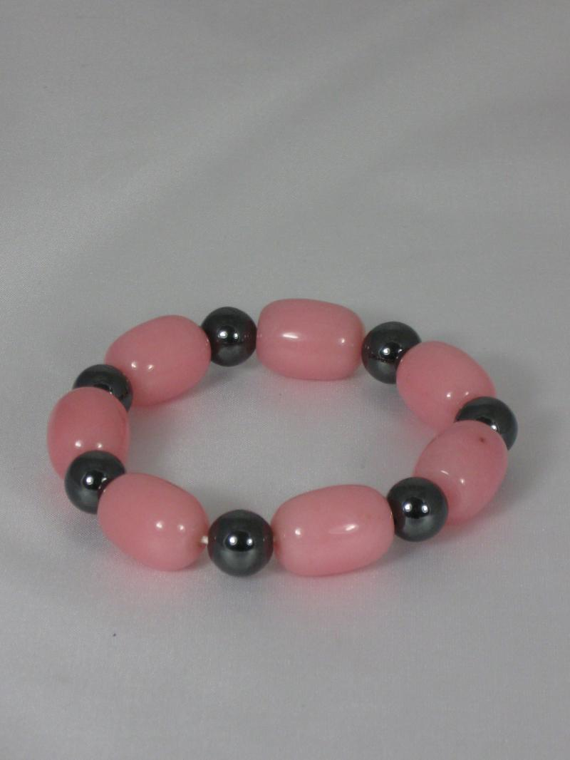 Bracelet with beautiful Pale Pink Glass and Black Hematite Beads