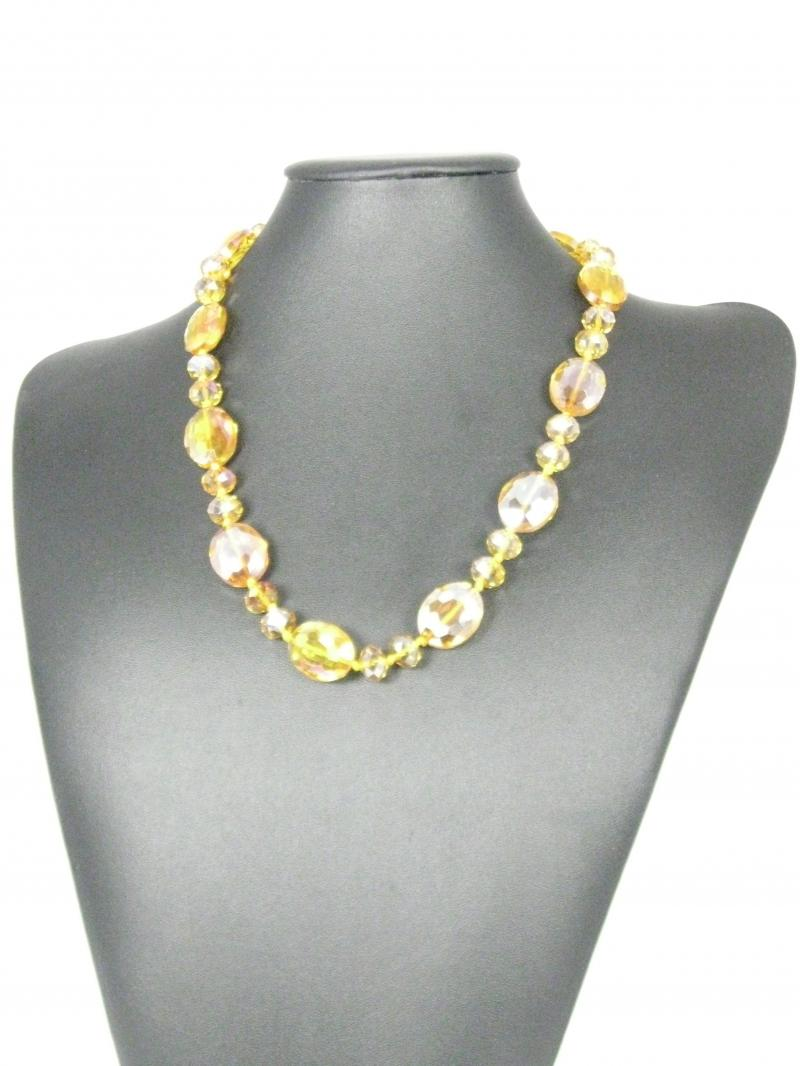 Beautifully Shiny Yellow Amber Glass Necklace