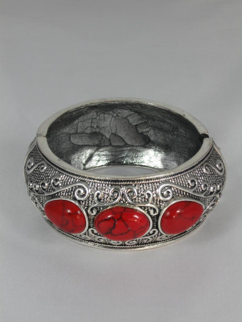 Silver Bangle with Scrolling and Bright Red coloured Beads