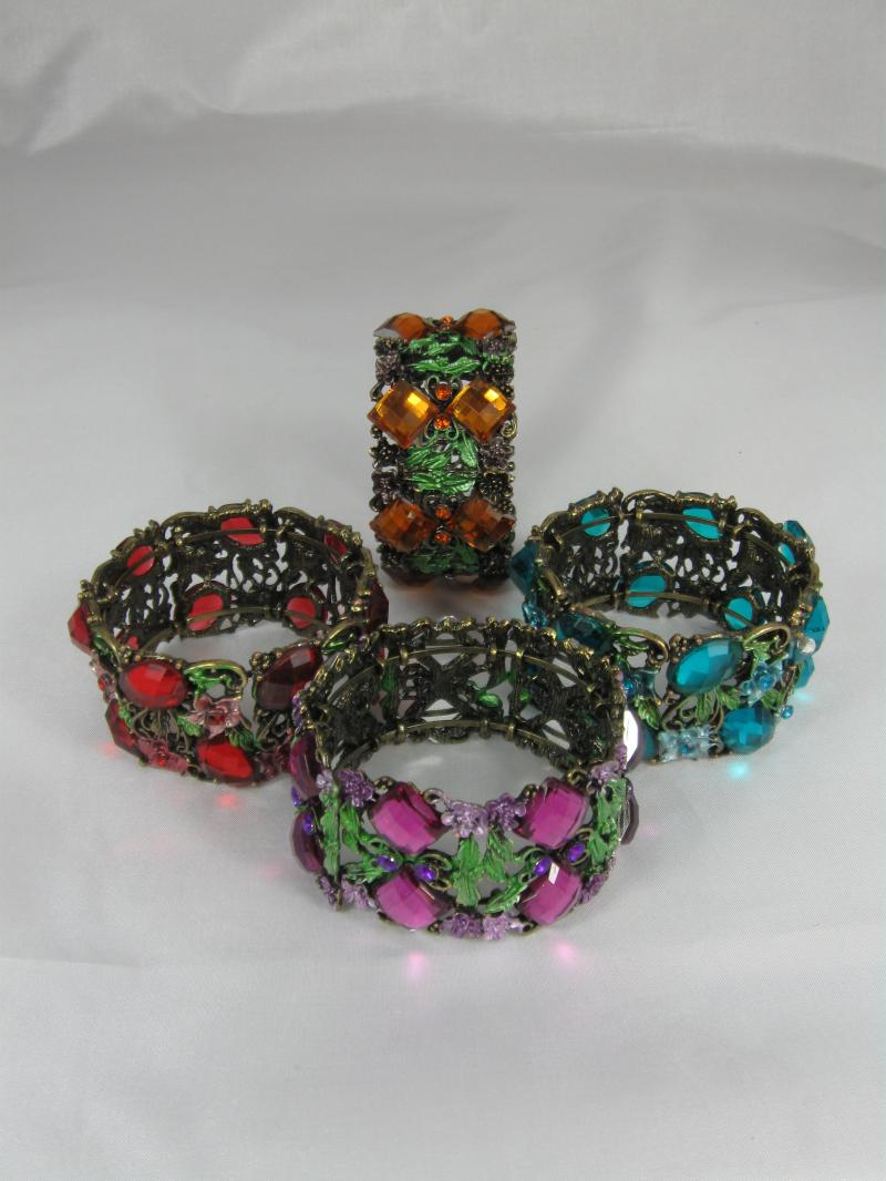 Beautifully Brightly coloured Bangles with Delicate Flowers