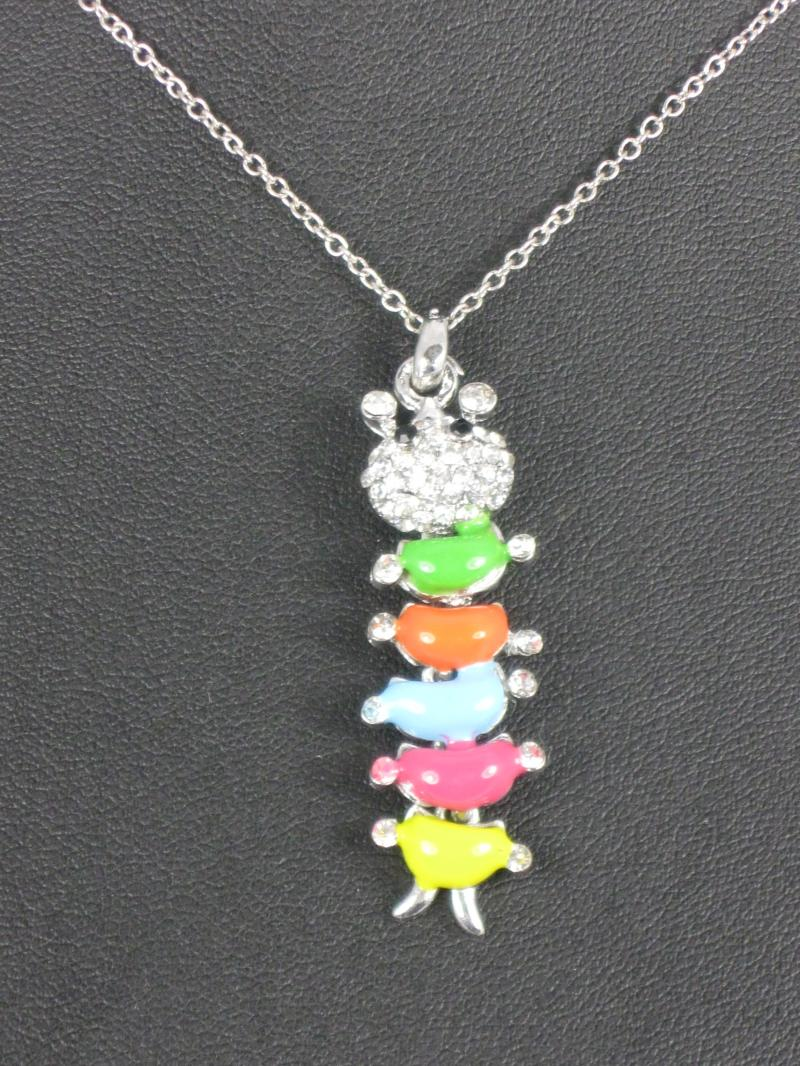 Brightly Coloured Caterpillar on a Silver Chain