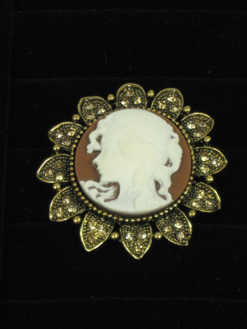 Very beautiful White Cameo Brooch set on a brown and goldtone background