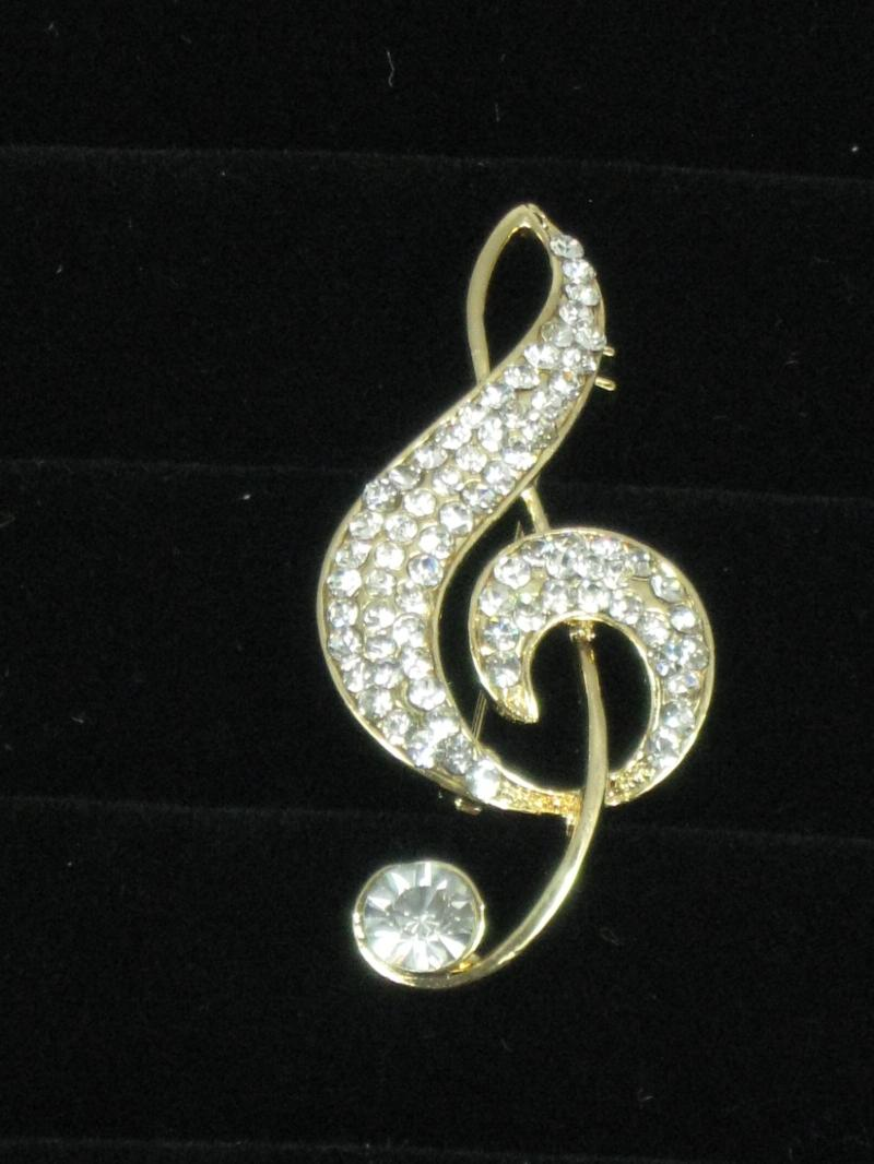 Musical Note Brooch of a Treble Clef in Diamantes and with Goldtone Clasp