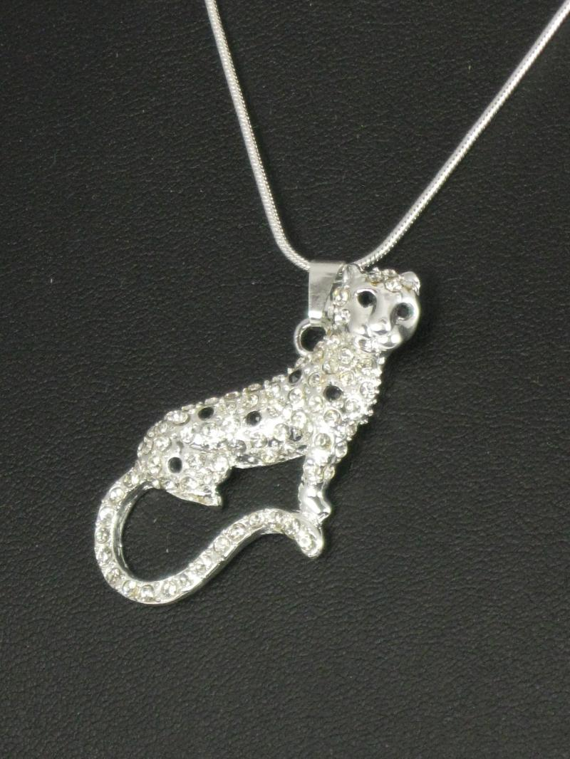 Silver coloured Leopard covered in Clear and Black Diamantes