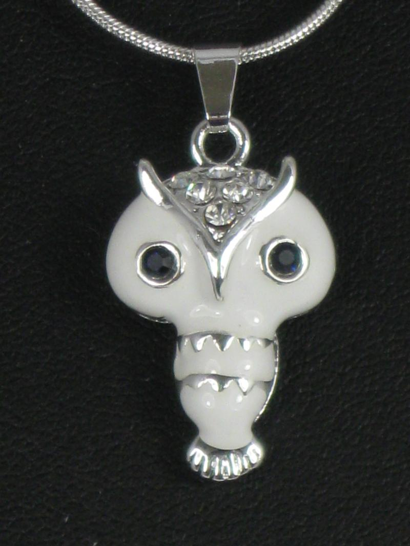 Adorable White Enamel Owl on a Silver coloured Chain