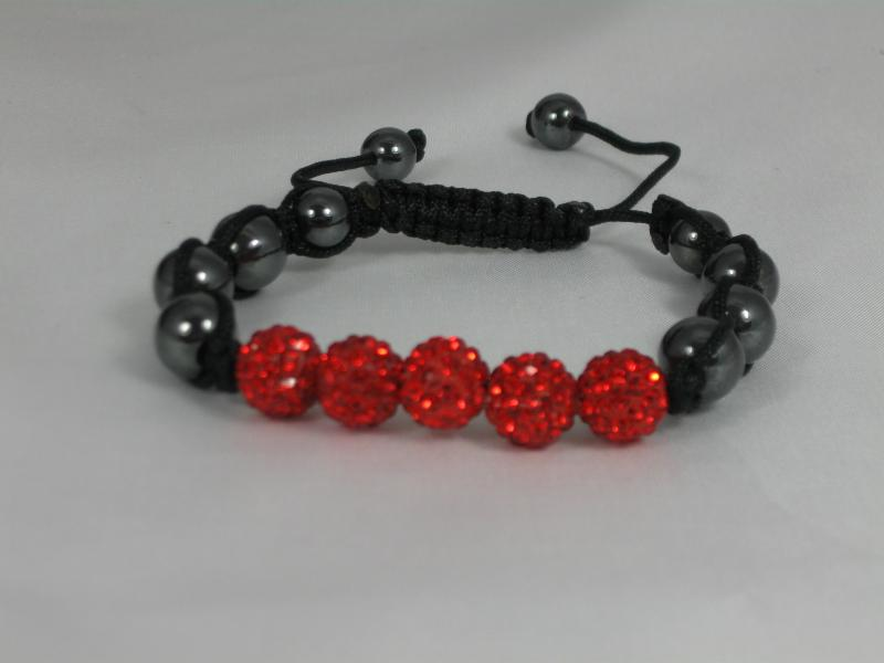Bright Red Crystal and Hematite Bracelet
