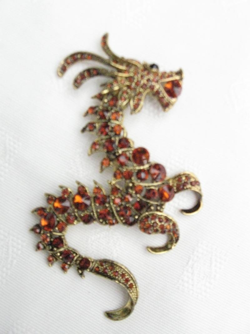 Large and Stunning Amber Topaz coloured Dragon Brooch