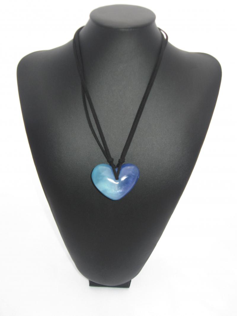 Multi Toned Blue Heart Necklace