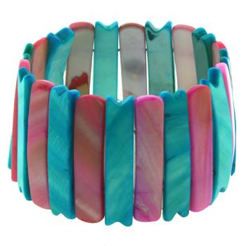 Vibrant Pink and Aqua Blue Shell Bracelet