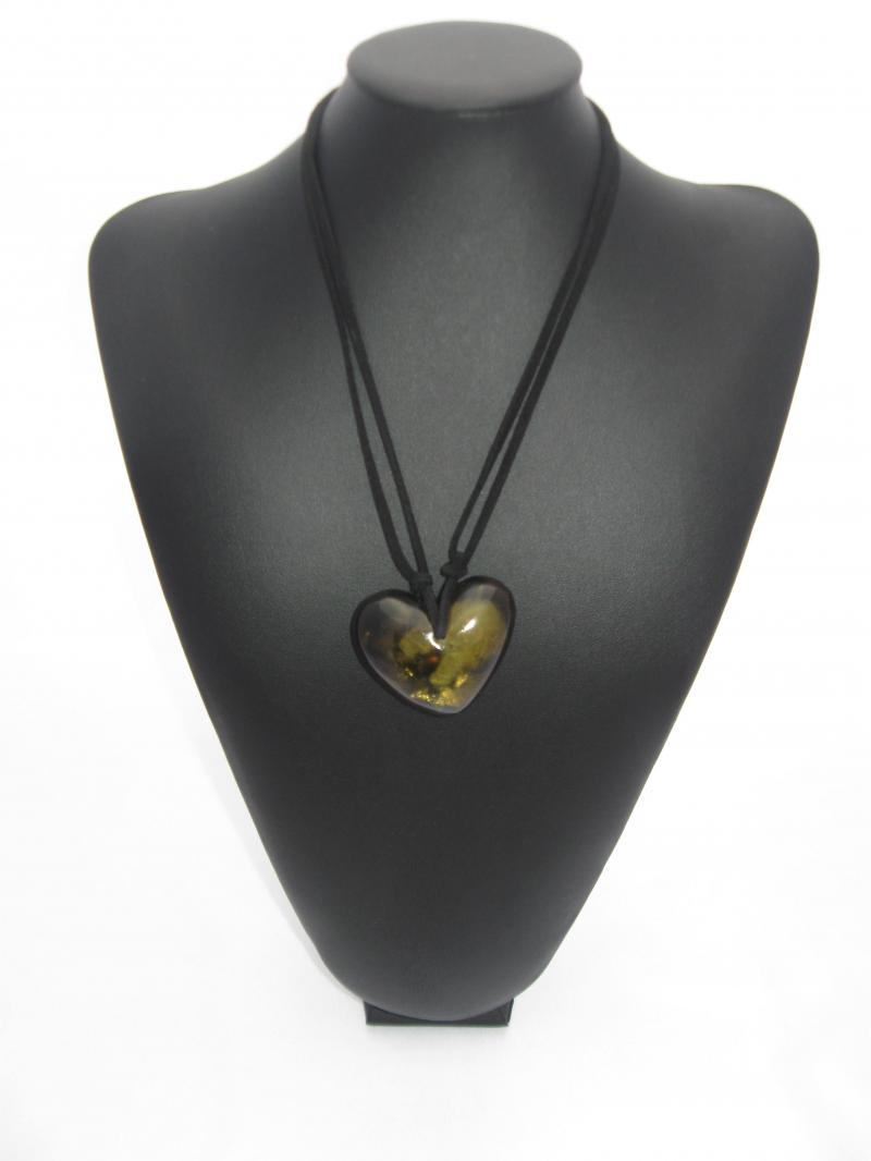 Multi Toned Olive Green Heart Necklace