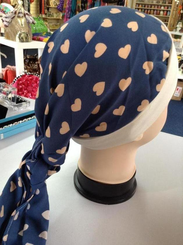 Beautifully Soft Head Scarves Blue Heart