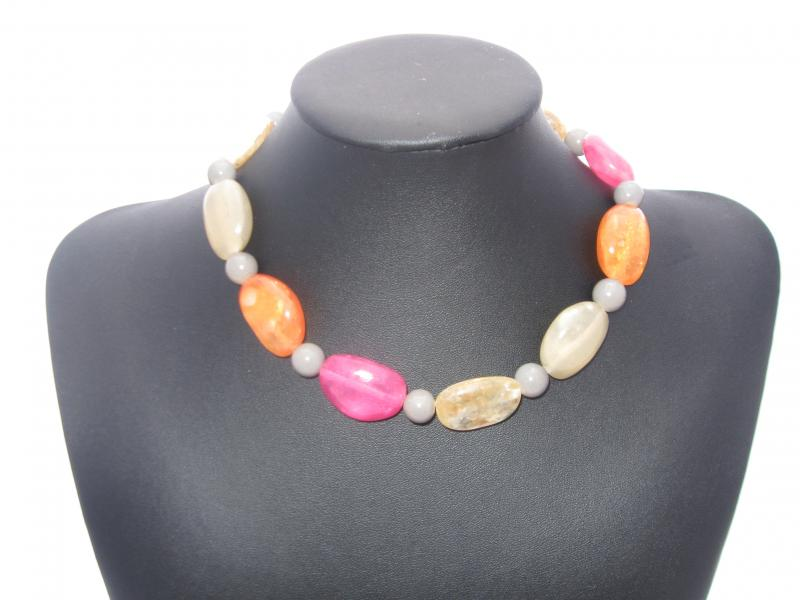 Orange and Pink Glass and Bead Necklace with Ribbon Fastening