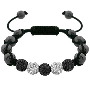 White and Black Crystals with Black Hematite Beaded Bracelet