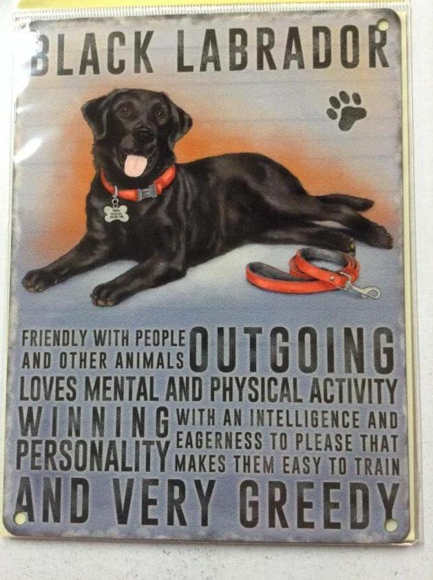 Black Labrador Dog Metal Sign