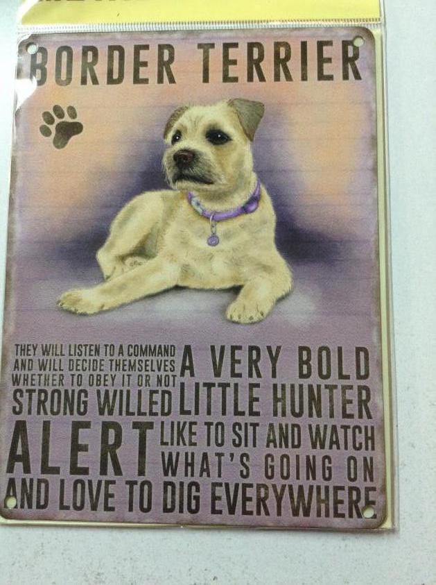 Border Terrier Dog Metal Hanging Sign