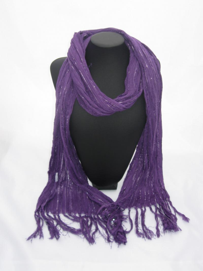 Rich Purple coloured Scarf with Silver Threads