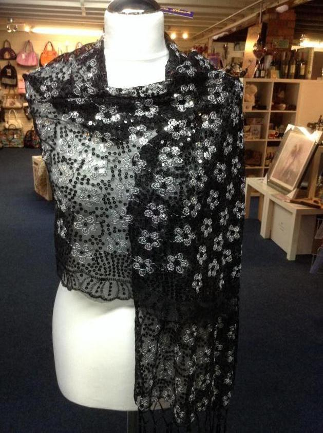 Glamorous Sequinned Wrap in Silver and Black