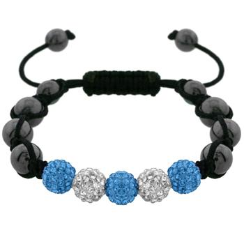 Gorgeous Blue and White Crystal Bracelet with Hematite Beads