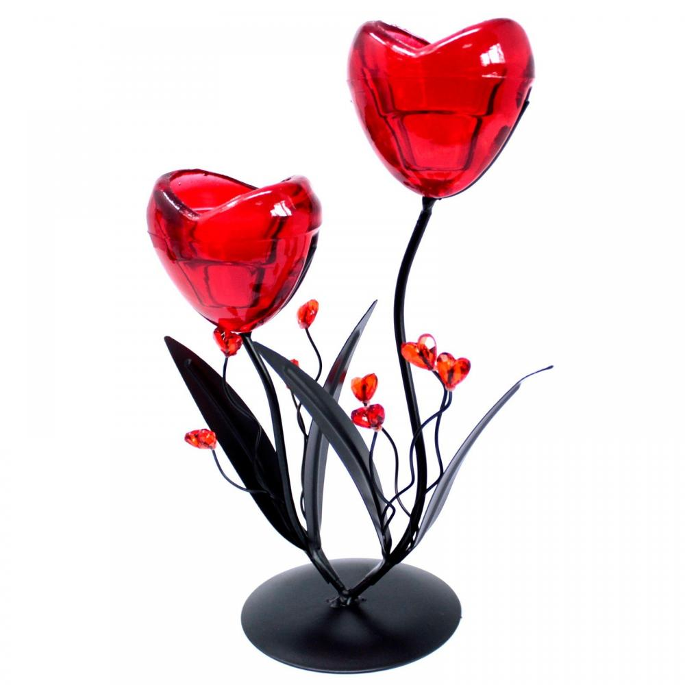 Romantic Candleholder - Twin Hearts Flower