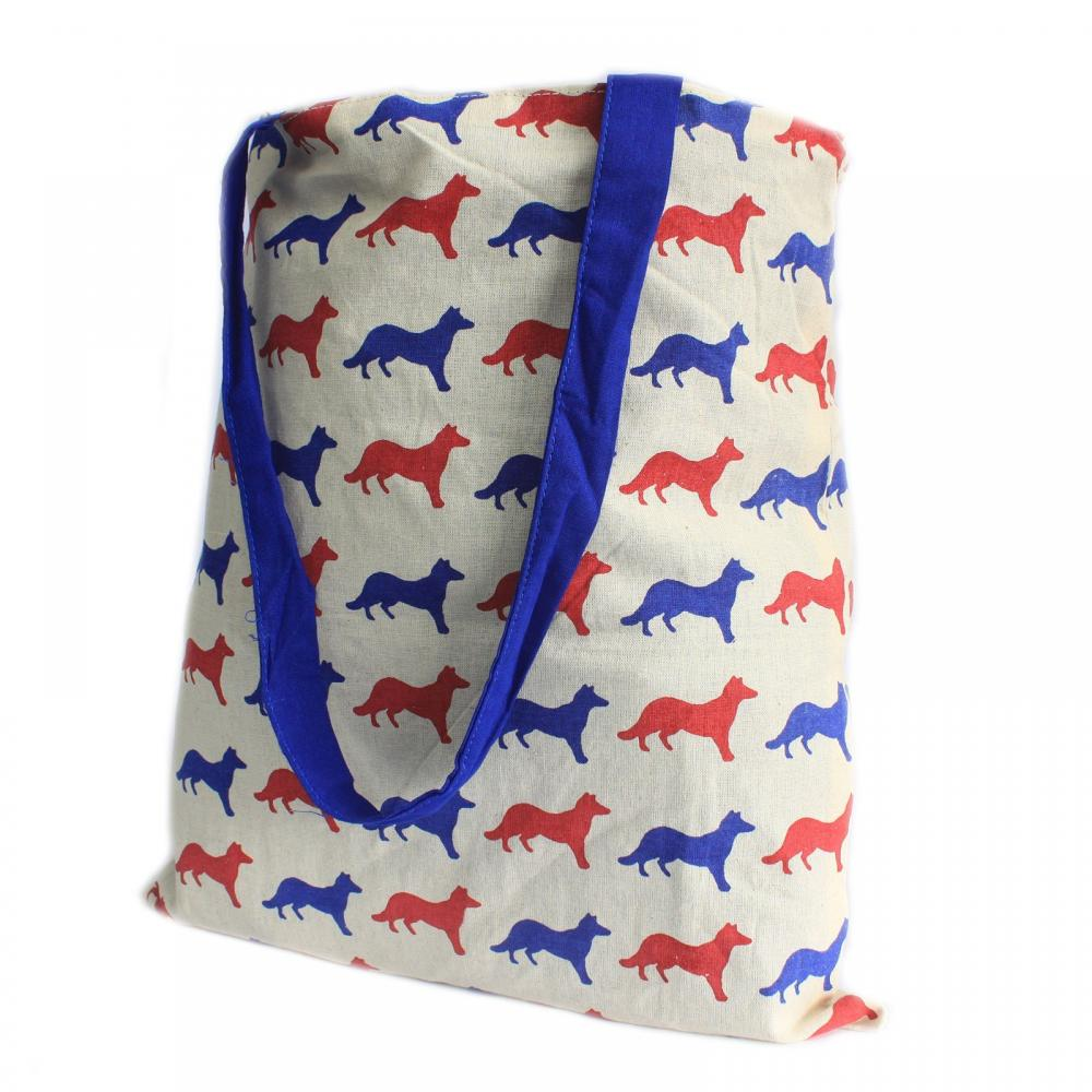 Lrg Tote Bag Reversible - Fox - Blue