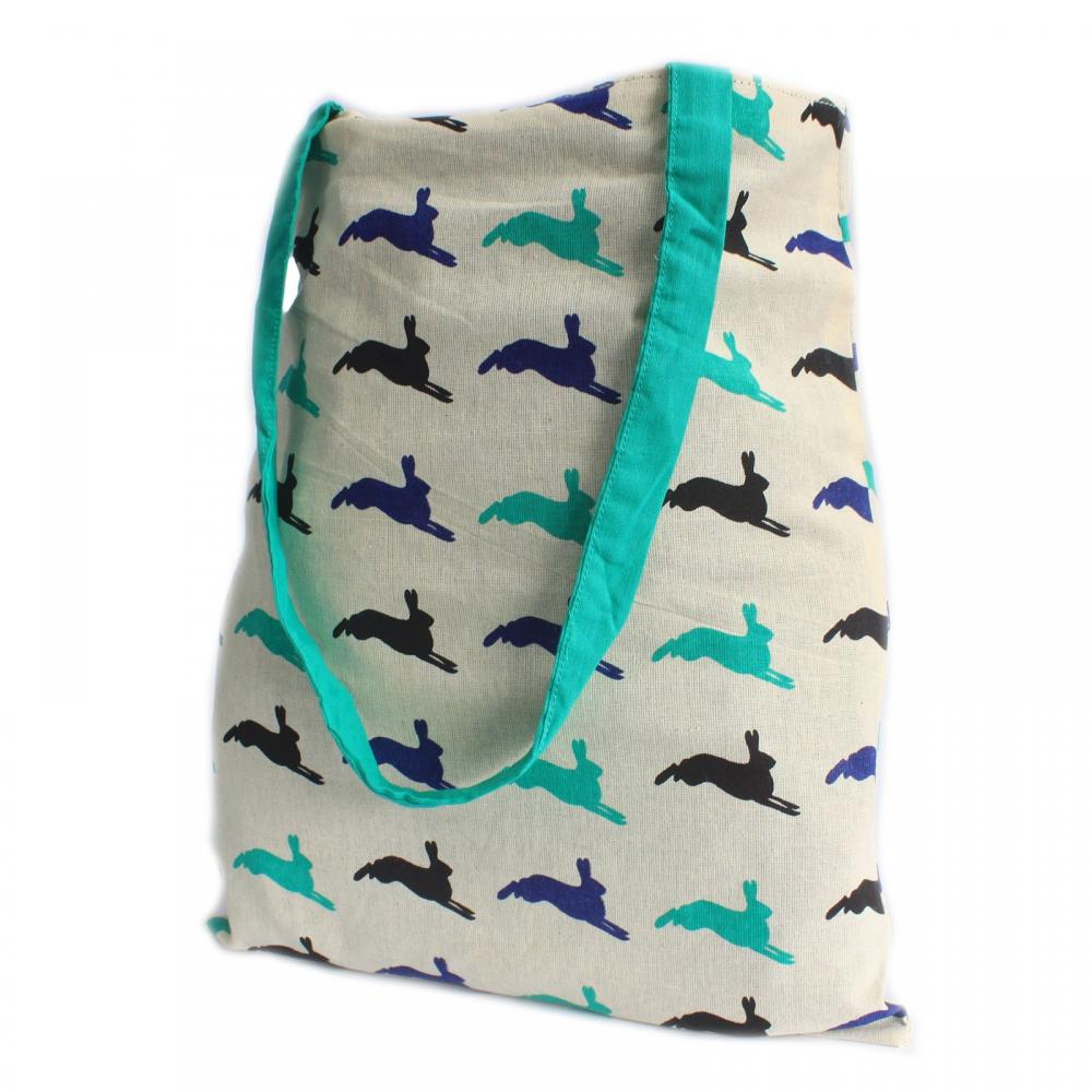 Lrg Tote Bag Reversible - Hare - Green