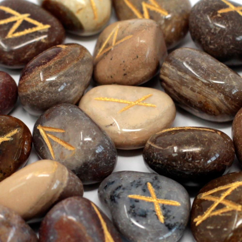 Runes Stone Set in Pouch - Fancy Jasper