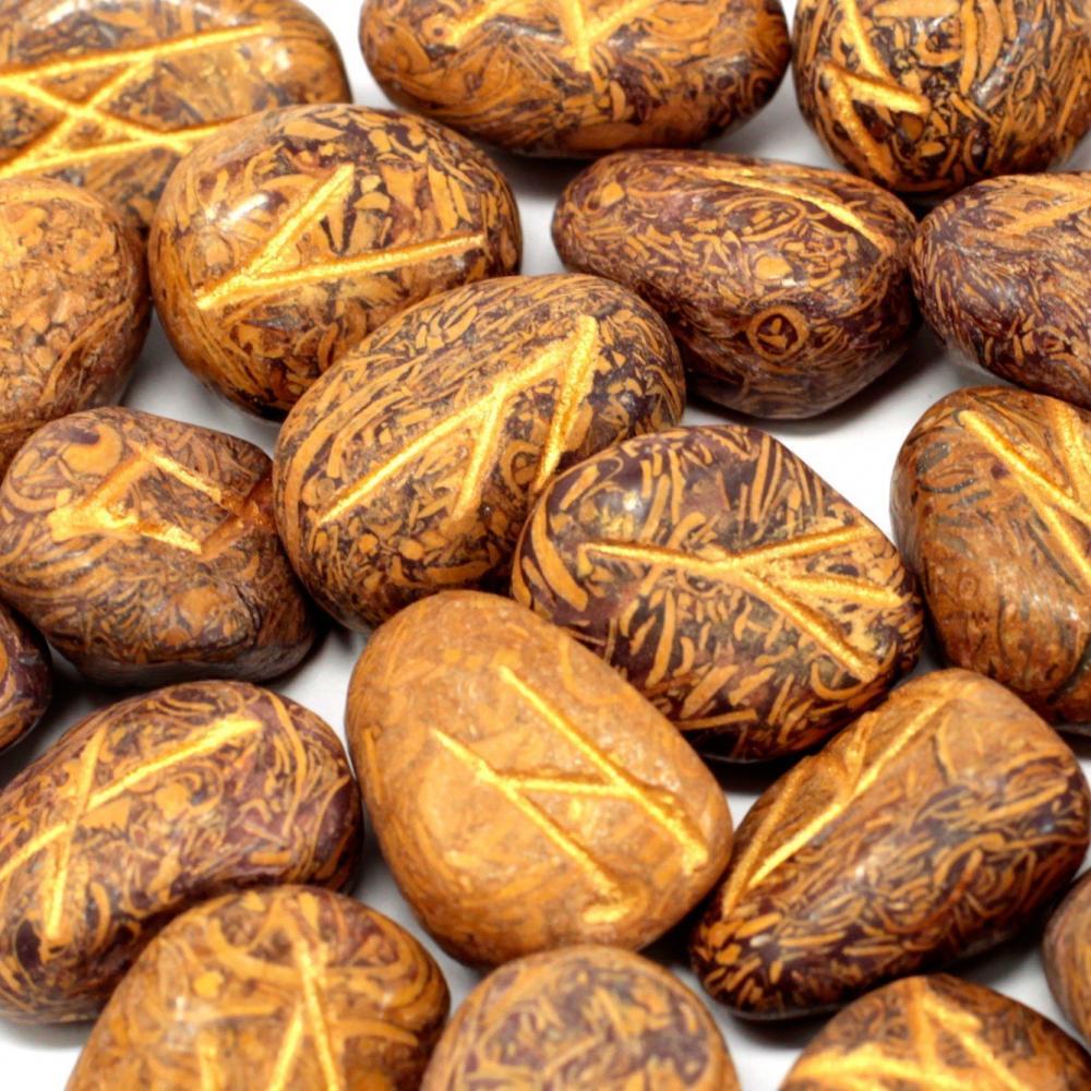 Runes Stone Set in Pouch - Snake Jasper