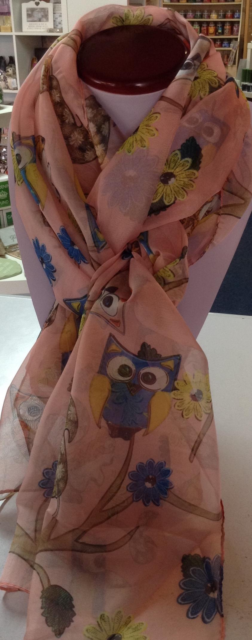 Owl Woodland Scarf 100% Silk