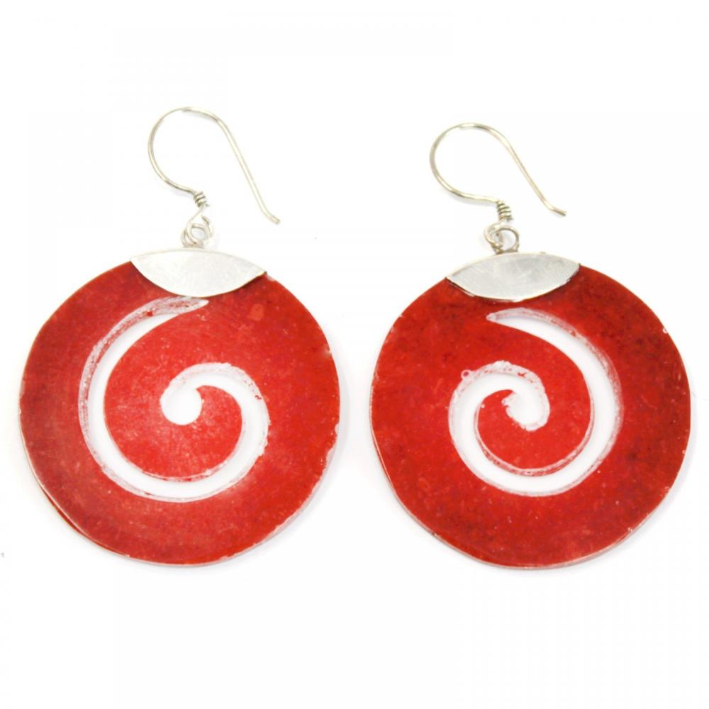 Coral Style Silver Earrings - Scroll Design
