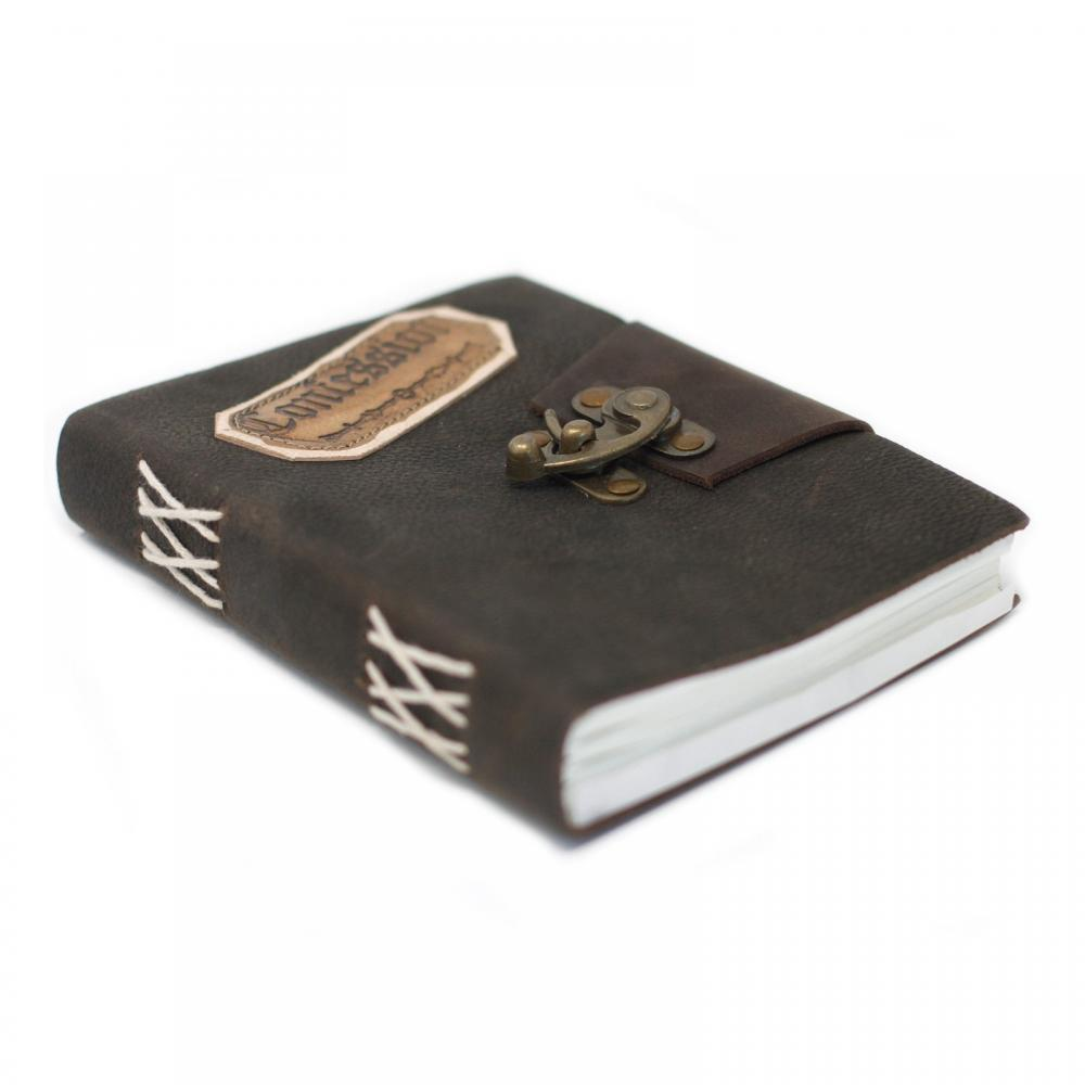 Leather Black Confessions with Lock Notebook (7x5