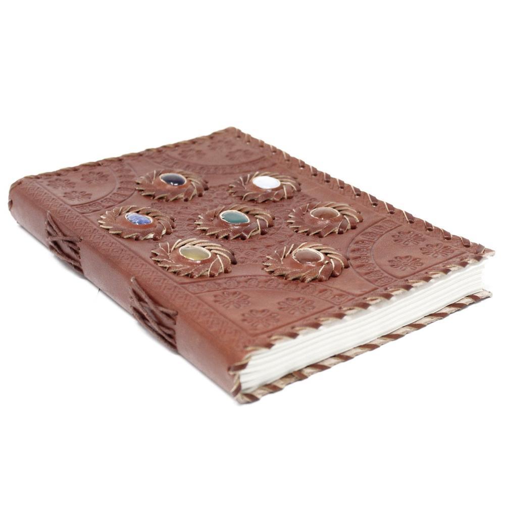 Leather Chakra Stone Notebook (6x9