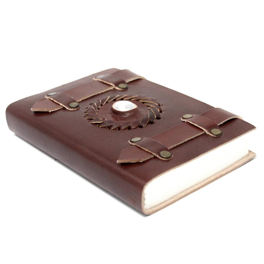 Leather Moonstone with Belts Notebook (6x4