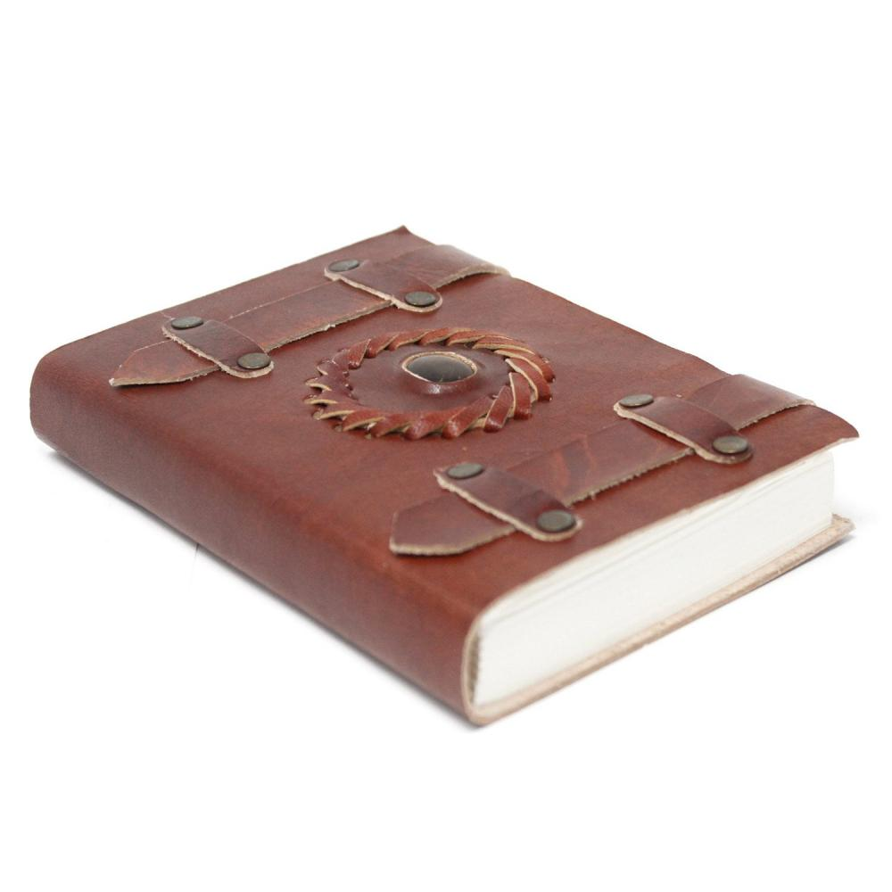 Leather Tigereye with Belts Notebook (6x4