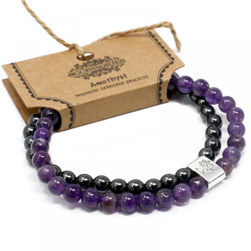 Magnetic Gemstone Bracelet - Amethyst