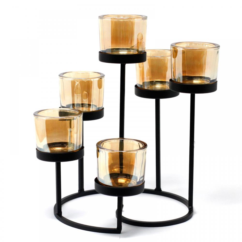Centrepiece Iron Votive Candle Holder - 6 Cup Circule Tree