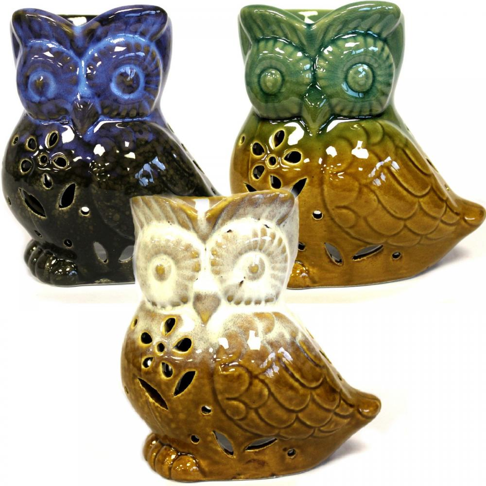 Classic Rustic Oil Burner - Owl Side-on (assorted)