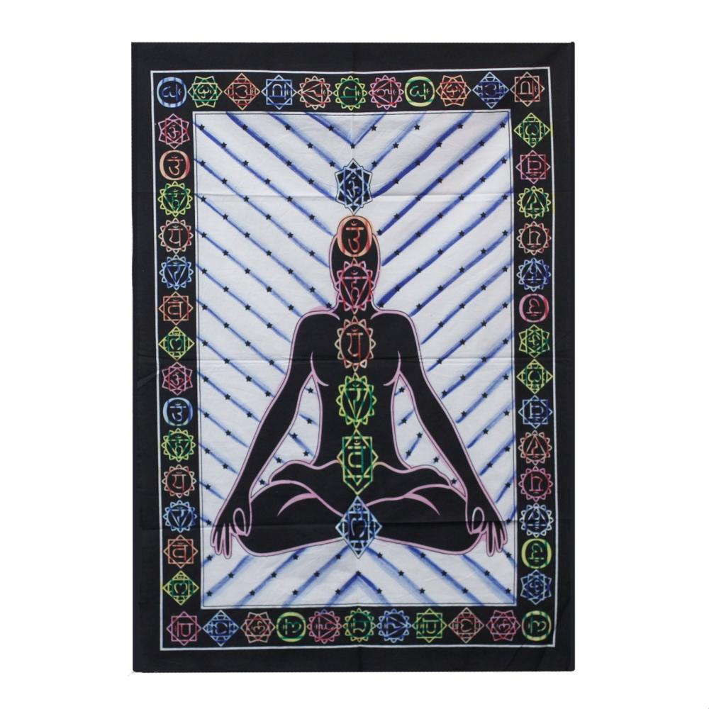 Handbrushed Cotton Wall Art - Chakra Buddha