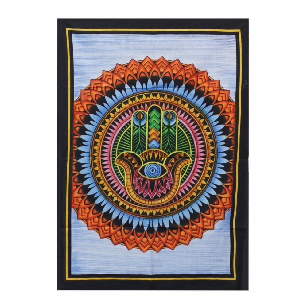 Handbrushed Cotton Wall Art - Hamsa