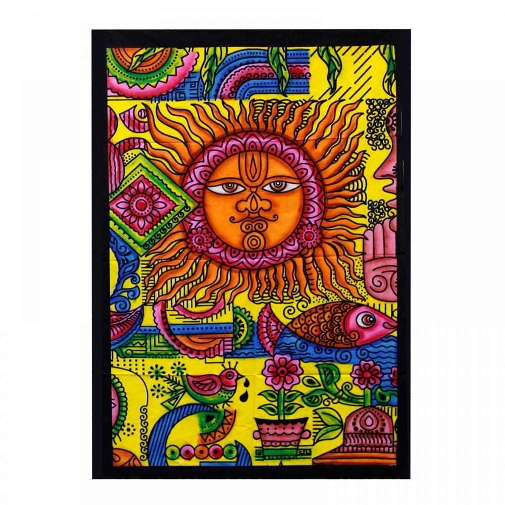 Handbrushed Cotton Wall Art - Sun