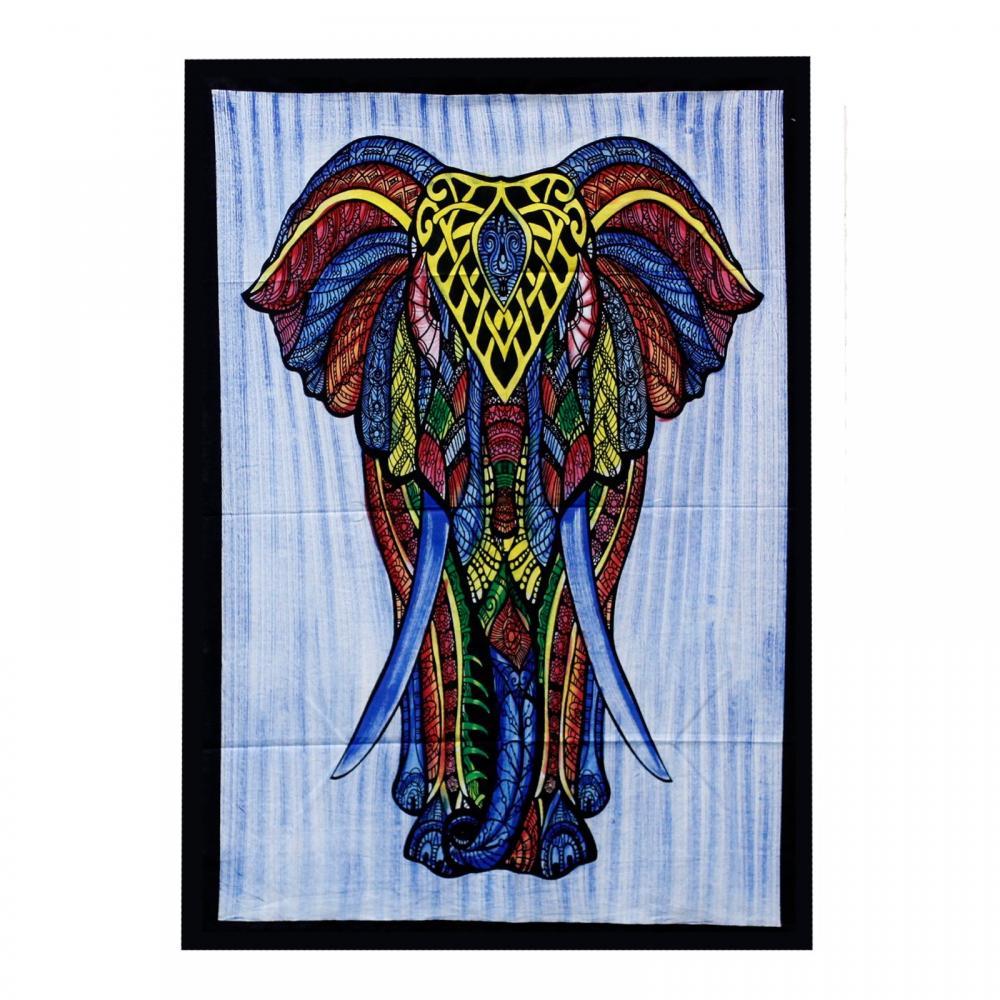 Handbrushed Cotton Wall Art - Elephant