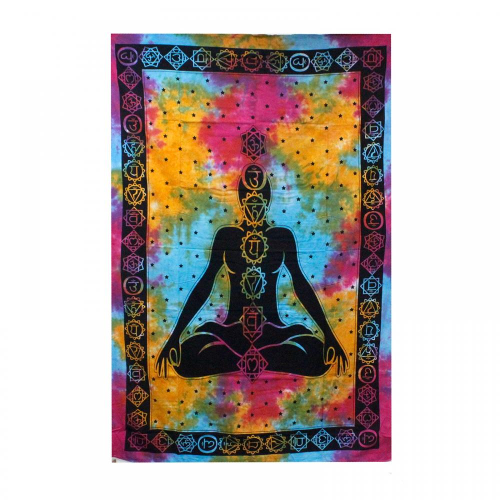 Single Cotton Bedspread + Wall Hanging - Chakra Buddha