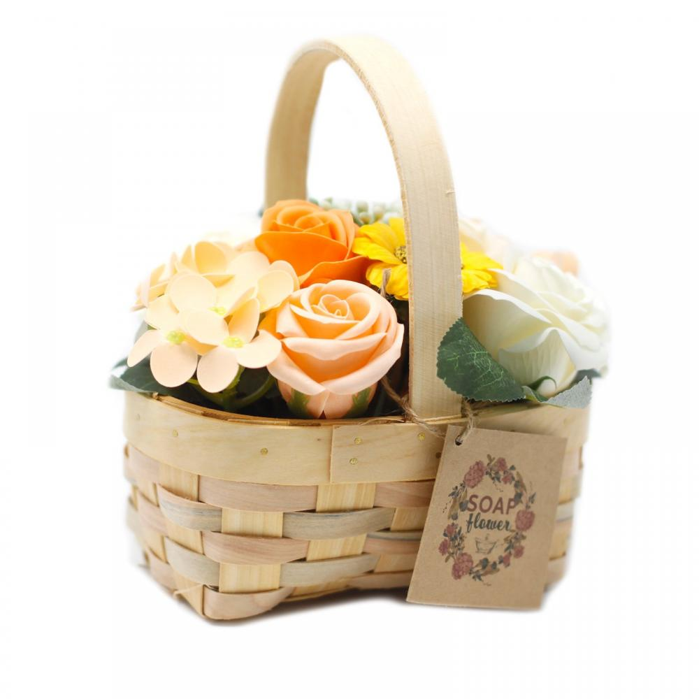 Medium Orange Bouquet in Wicker Basket
