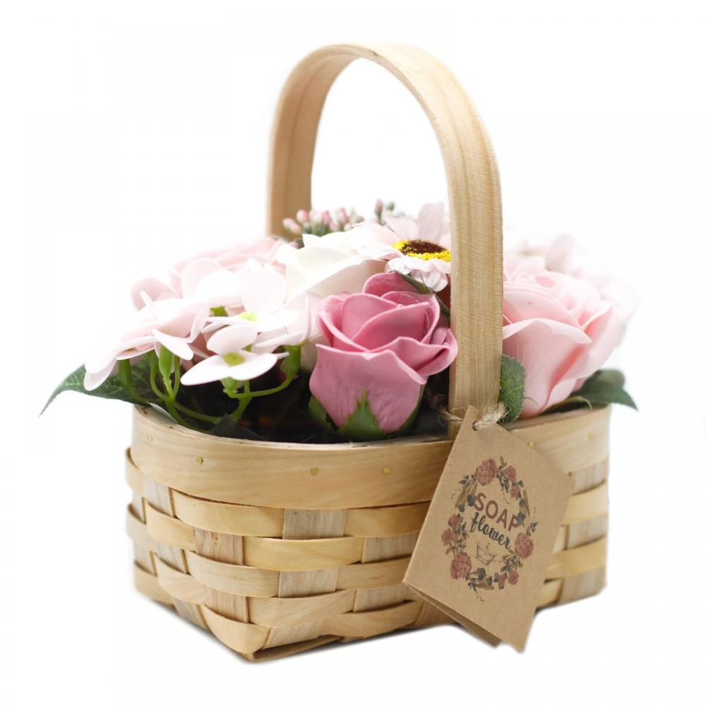 Medium Pink Bouquet in Wicker Basket