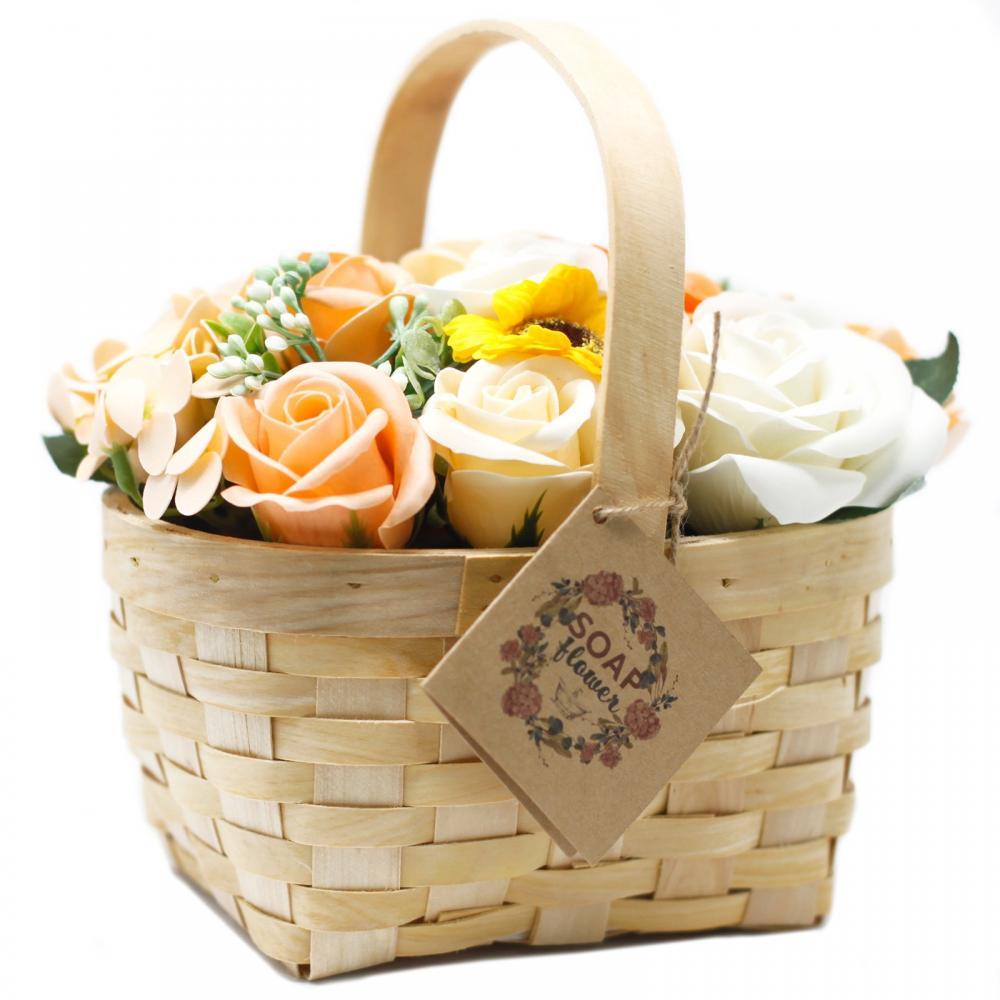 Large Orange Bouquet in Wicker Basket
