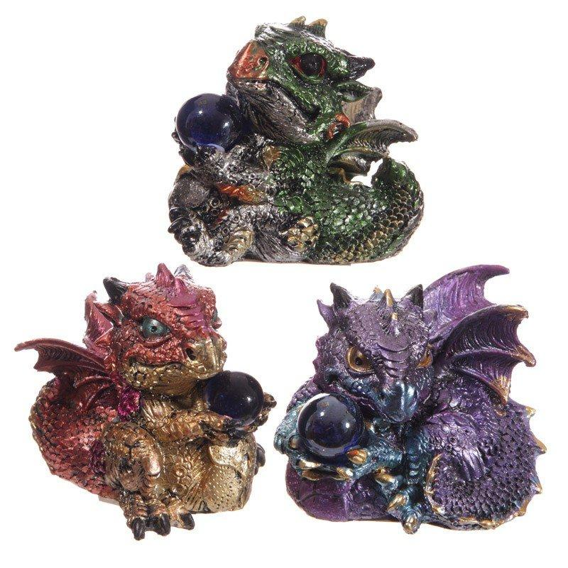 Cute Baby Dragons with Crystal Ball