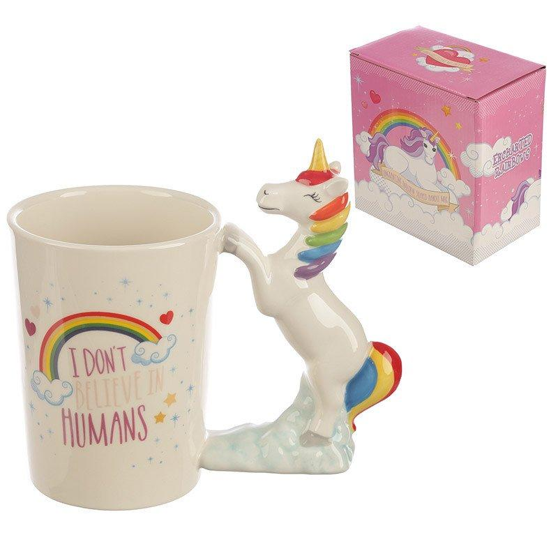 I Don't Believe in Humans Rainbow Unicorn Shaped Handle Mug