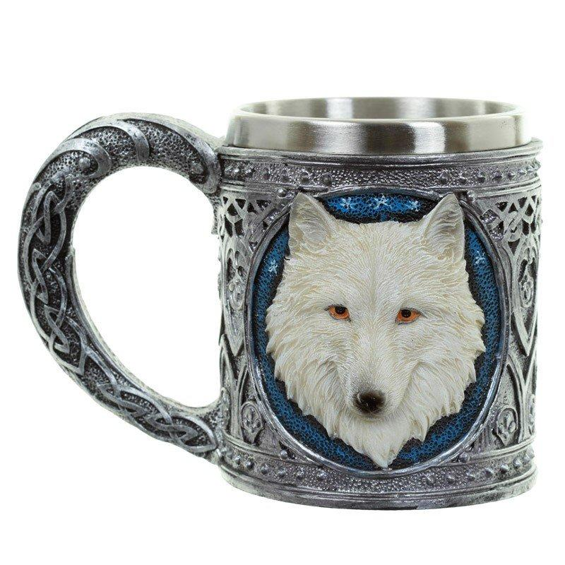 Decorative White Wolf Tankard
