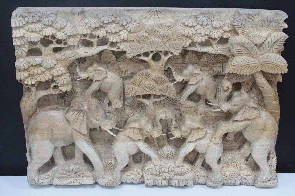 Bali Artisan Panels - Elephants & Volcano Natural Color